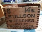 Old Wood Shipping Crate STILLSON WRENCHES Box Hardware Store Rustic 6 -14