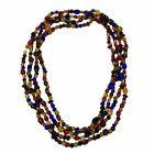 Vintage Hand Blown Venetian Multicolor Glass Extra Long 94 Rope Necklace