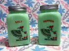 Jadeite Green Glass Watering Girl Salt and Pepper Shakers in Excellent Condition
