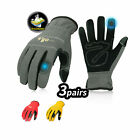 Vgo 3pairs Flex Grip Leather Work Gloves Light Duty Mechanic Glovesnb7581
