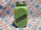 Jadeite Green Glass Black Letter Ribbed Spice Cinnamon Shaker in Excellent Cond.