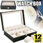 12 Grid Leather Jewelry Watches Display Storage Box Case Showing Decoration Tray