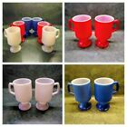 Anchor Hocking Milk Glass Red White Blue Textured Retro Footed Coffee Mugs Lot 6