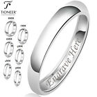 Sterling Silver 925 Solid Couples Plain Comfort Fit Wedding Band Promise Ring