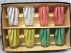 1950's Set of 8 Retro Soda Fountain Striped Drinking Glasses Rare Pontil Bottom