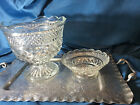 Lot of 2 Hocking Wexford Pedestal centerpiece Serving Scallop Bowl + candy dish