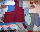 7005 Antique 1870-1910 Crazy Quilt block, chicken feed sack backing with label
