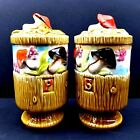 2 Tilso Merry Mushroom Large Ceramic Salt  Pepper Shakers Set Pair Vtg 7 Tall