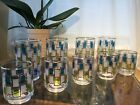 9 Mid Century Libbey NORDIC GLASS TUMBLER  Blue/Green/Frosted White Squares