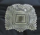 VINTAGE CLEAR GLASS DIAMOND POINT SQUARE RUFFLED EDGE CANDY/NUT DISH INDIANA GLA