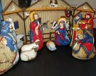 Christmas Nativity Set Cradle Hymn Baby Vintage Handmade Plush Pillow Fabric