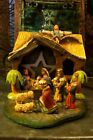 Vintage Miniature Nativity 9 Nativity Figures Fold Up Stable 2 Palm trees