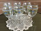 Vintage Set of 6 Libbey Pansy Flowers Goblet Drinking Glasses Blue Yellow Green