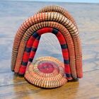 Handmade Unique Native Rustic Napkin Holder Woven Grass Red Black Buffalo Plaid