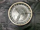 Vintage 1960s Divided Serving Dish, Clear Glass, Round 3 Section Silver Rim