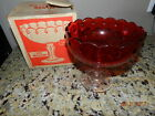 VINTAGE INDIANA GLASS RUBY COMPOTE DISH WITH ORIGINAL BOX