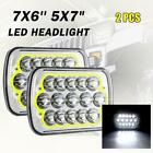 1 Pair 7X6 5x7 LED Headlights For Chevrolet Jeep Cherokee XJ Wrangler YJ