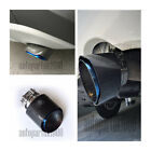 Half Blue Stainless Steel Carbon Fiber Glossy 76mm 3 Exhaust Tips Muffler
