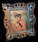 HOLLYWOOD REGENCY Ornate Framed FRENCH LADY Huldah PICTURE Turner Wall Accessory