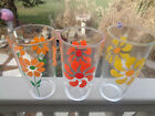 3 VTG SOUR CREAM DRINKING GLASSES PINWHEEL FLOWER POWER Retro