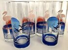 6 PANACHE Flamingo Geese Vintage Glass Tumblers, Drinking Glasses, 50's Barware