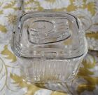 Vintage Refrigerator Dish Federal Glass Square Storage Vegetable Embossed Lid