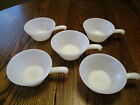 Vintage Anchor Hocking Fire King Soup Chili Bowls w/handle Milk Glass Set of 5