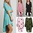 Womens Loose Tunic Long Tops Blouse Holiday Casual T Shirt Mini Dress Plus Size