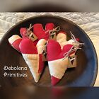 Set Of 5 Grungy Primitive Antique Red White Quilt Valentine Hearts Bowl Fillers