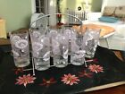 Vintage Todd Tumblers (8) 14 oz  with  Art Deco Chrome Carrier Rack,  Very Nice
