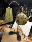 Mid Century Modern Lamp Fiber Glass Shades Brass  Wood Base