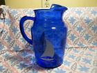 Vintage Colbalt Blue Sail Boat Pitcher in Very Good to Excellent Condition.