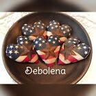 Set Of 5 Primitive Americana Flag Hearts Bowl Fillers Ornies Rusty Stars