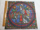 Vintage Kreier Voile Hand Rolled Stained Glass Pocket Square-13.5