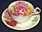 Antique THREE HUGE CABBAGE ROSES Aynsley TEA CUP  SAUCER Footed 1930s MINT