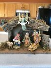 Fontanini 6 Piece Nativity Scene In Box 5 Figures W Stable 4 Story Cards EUC