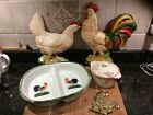 JOYYE HAND PAINTED HOMCO DIVIDED DISH BRASS ROOSTER HEN CHICKEN DECOR