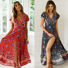 US Summer Women Floral Chiffon Short Sleeve Dress Casual Party Boho Maxi Dresses