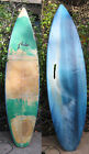 surfboard R Brand Rusty 3 Fin missing Ocean Picture on Bottom Surf Vintage