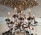 Antique Brass Bronze French Art Chandelier Crystal Clear Amber Glass 12 Lights