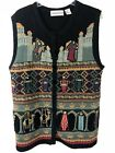 Sharon Young Christmas Nativity 3 Kings Embroidered Sweater Vest Size X Large