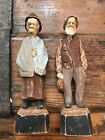 Vintage Wood Carved Couple Hand Painted Signed
