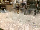 Vintage Set Of Six Highball Water Ice Tea Glasses Roses Etched Barware