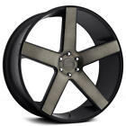 22 Staggered Dub Wheels Baller S116 Black with Machined Face Rims FS