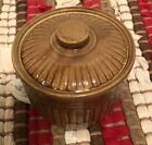 USA small lidded container-bean pot-dips-soups-Brown ridged