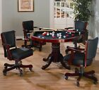Rosso 3 in 1 Poker Bumper Pool Dining Table4 Chairs Game Room Set in Merlot Red