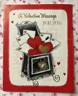 Vintage Mid Century Valentine Greeting Card Mailbox Full of Hearts Valentines