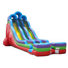 Double Water Slide Commercial Inflatable Blow Up Slide With Blower 24 ft Retro