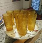 Eight Vintage  Amber Glass Tumblers Sunburst  Brockway American Concord
