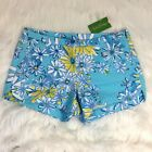 NWT LILLY PULITZER ADIE SHORTS BREAKWATER BLUE DAISY DANCE ALLOVER SIZE 2 68